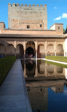 Alhambra Palace courtyard in Granada Spain